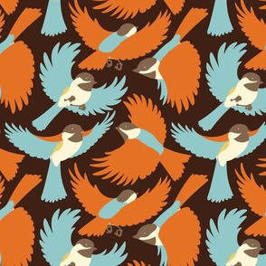 Chickadees in Browns and Blues