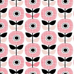 Colorful retro poppy flower blossom scandinavian style summer garden pink