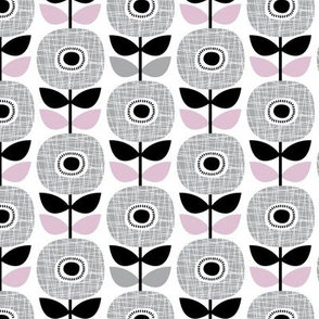 Colorful retro poppy flower blossom scandinavian style summer garden gray