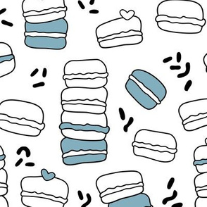 Cool trendy candy macaron macaroon design memphis style black and white blue