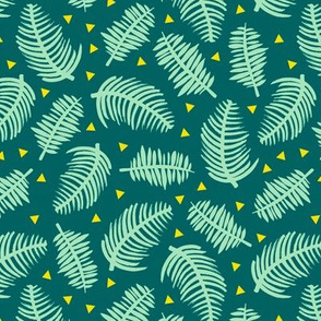Tropical summer palm leaves geometric triangles green mint mustard