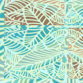 Abstract Leaves Cheater Quilt Teal