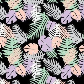 Tropical summer leaf geometric pastel beach print black lush green