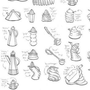 Kitchenware Sampler monochrome