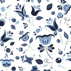 """Traditional russian style """"gzhel"""" floral pattern"""