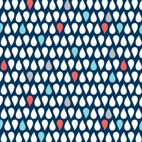 Sea Spray Geometric Navy Blue