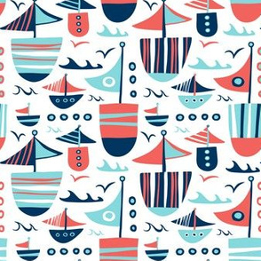 Set Sail White Nautical Boats