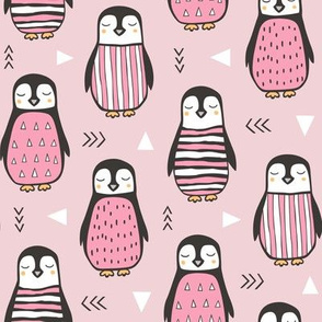 Penguins with Geometric and Triangles Pink