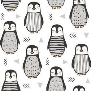 Penguins Black&White  with Sweater Geometric and Triangles  in Grey on White
