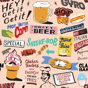 Coney Island Food Signs - Pink