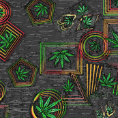 Grunge Rasta Leaves