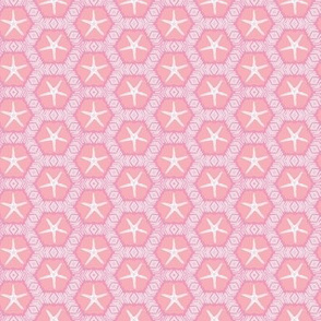 Little Starfish in Pink Tones Geometric Pattern
