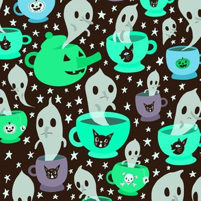 Tea cup ghosts in blues