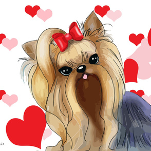 Yorkie red hearts Panel