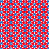 red blue white geometric