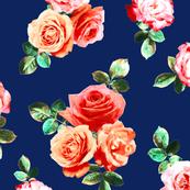Vintage Rose Floral on navy blue - large