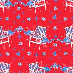 Patriotic Flamingos-Red