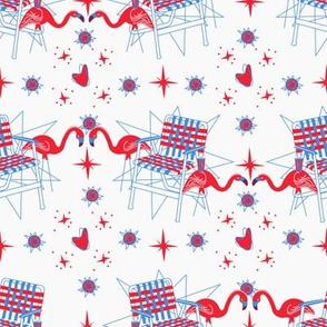 Patriotic Flamingos-White