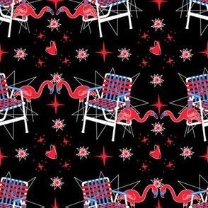 Patriotic Flamingos-Black