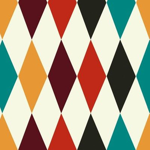 1950s Harlequin multi-coloured