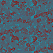 Coral Garden Turquoise Red