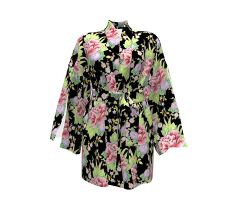 Kimono Bouquet Chintz Black