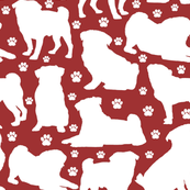 "Pugs n Paws on Red - Large (3"")"