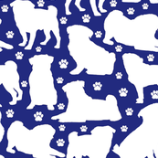 "Pugs n Paws on Blue - Large (3"")"