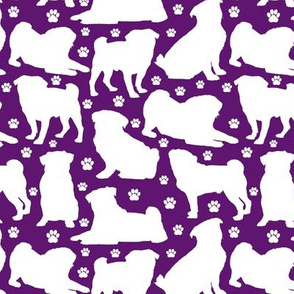 "Pugs n Paws on Purple - Small (2"")"
