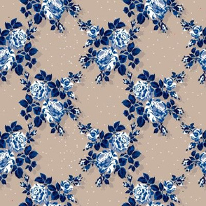 Vintage blue rose pattern