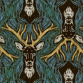 Woodblock Buck 1