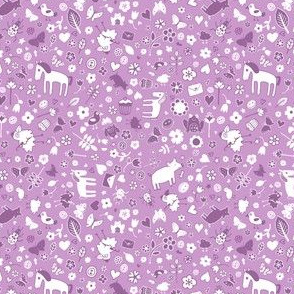 Pigs & Ponies Ditsy - Lilac and white