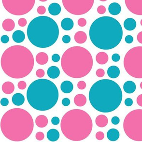 Hot Pink Turquoise Teal Blue Polka Dot Circle Geometric Design