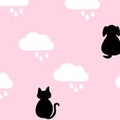 Raining Cats & Dogs - Pink & Black