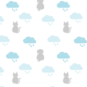 Raining  Cats & Dogs - White & Blue