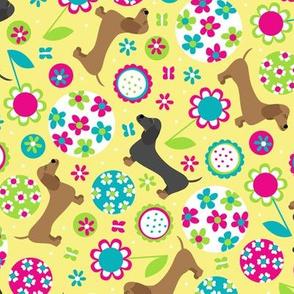 Dachshund Garden Party (Yellow)