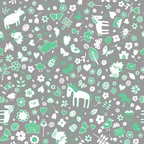 Pigs & Ponies Ditsy - Grey, Mint & White