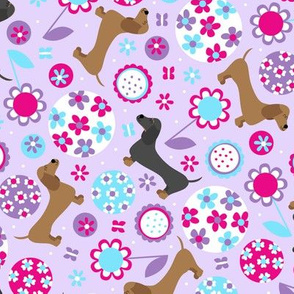 Dachshund Garden Party (Purple)