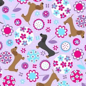 Dachshund Garden Party (Purple)