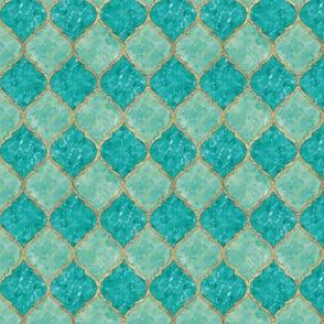 Turquoise Quatrefoil - Seamless - Small