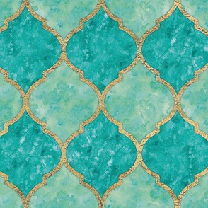 Turquoise Quatrefoil - Seamless - Medium