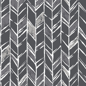 Hand-drawn Herringbone // White on Charcoal