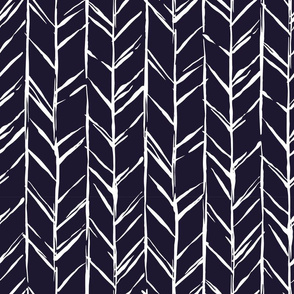 Handdrawn Herringbone White, Navy