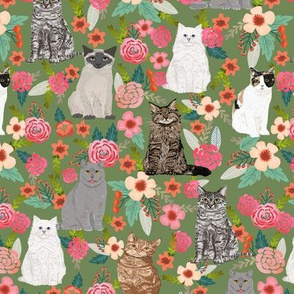 cat garden sweet cat lady flowers florals cats white cat siamese cat flowers watercolors