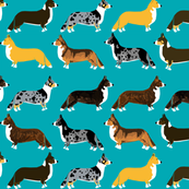 corgi turquoise aqua blue corgis pet dog dogs cute dog fabric