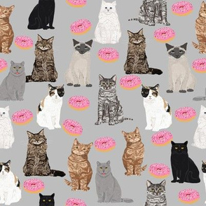 cats and donuts cat kitty kitten donut doughnuts cute cats grey sweet food print