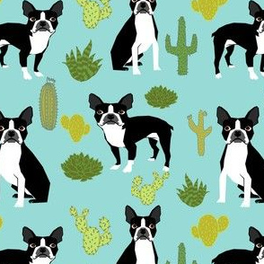 boston terrier cactus mint summer desert kids mint dogs puppy pets pet boston terrier fabrics
