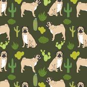 pugs and cactus pug dog dogs dog cactus tropical trendy plants green dog