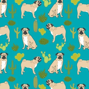pugs and cactus pet dog pet doggy cactuses cute trendy plants turquoise dog owners