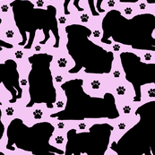 "Pugs n Paws on Pink - Large (3"")"